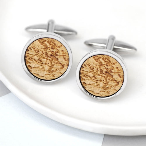 maria allen wooden cufflinks world map