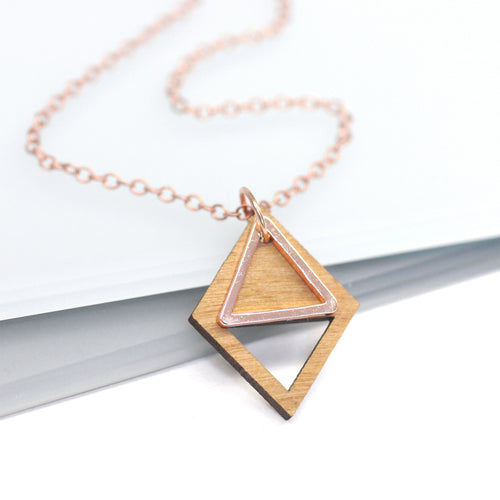 maria allen wooden diamond rose gold triangle necklace