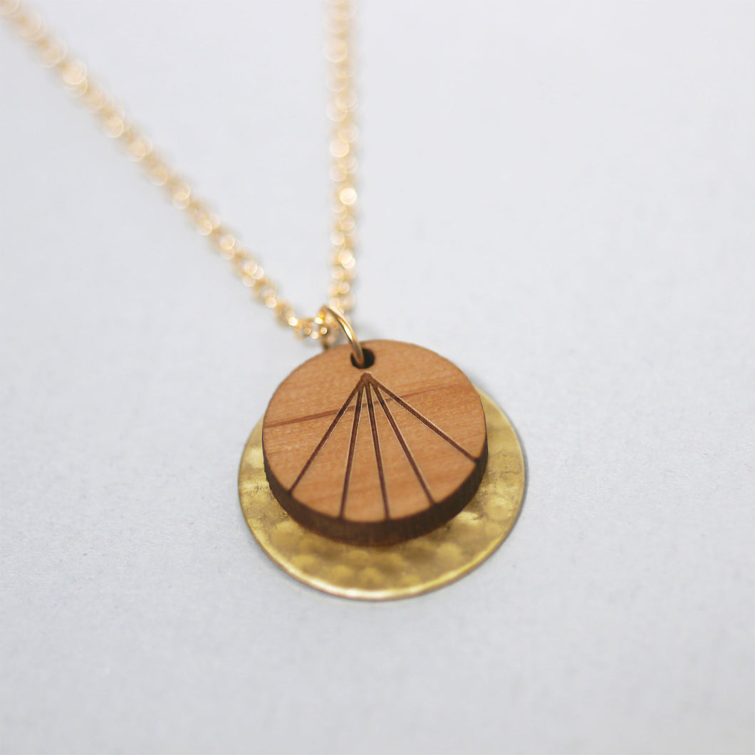 maria allen wooden hammered brass disc rays motif necklace