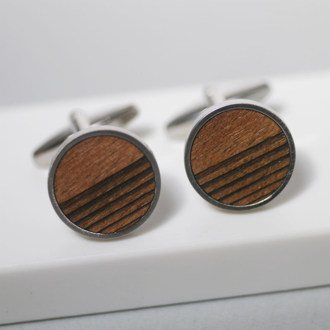 maria allen wooden linear walnut cufflinks