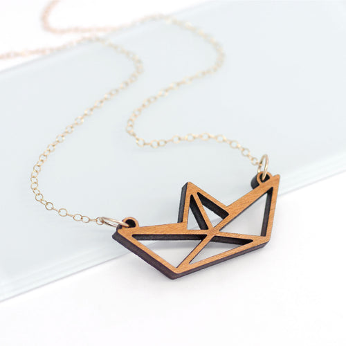 maria allen wooden paper boat necklace