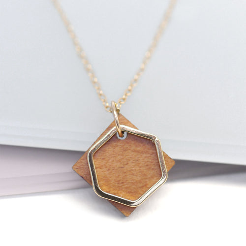 maria allen wooden square gold hexagon necklace