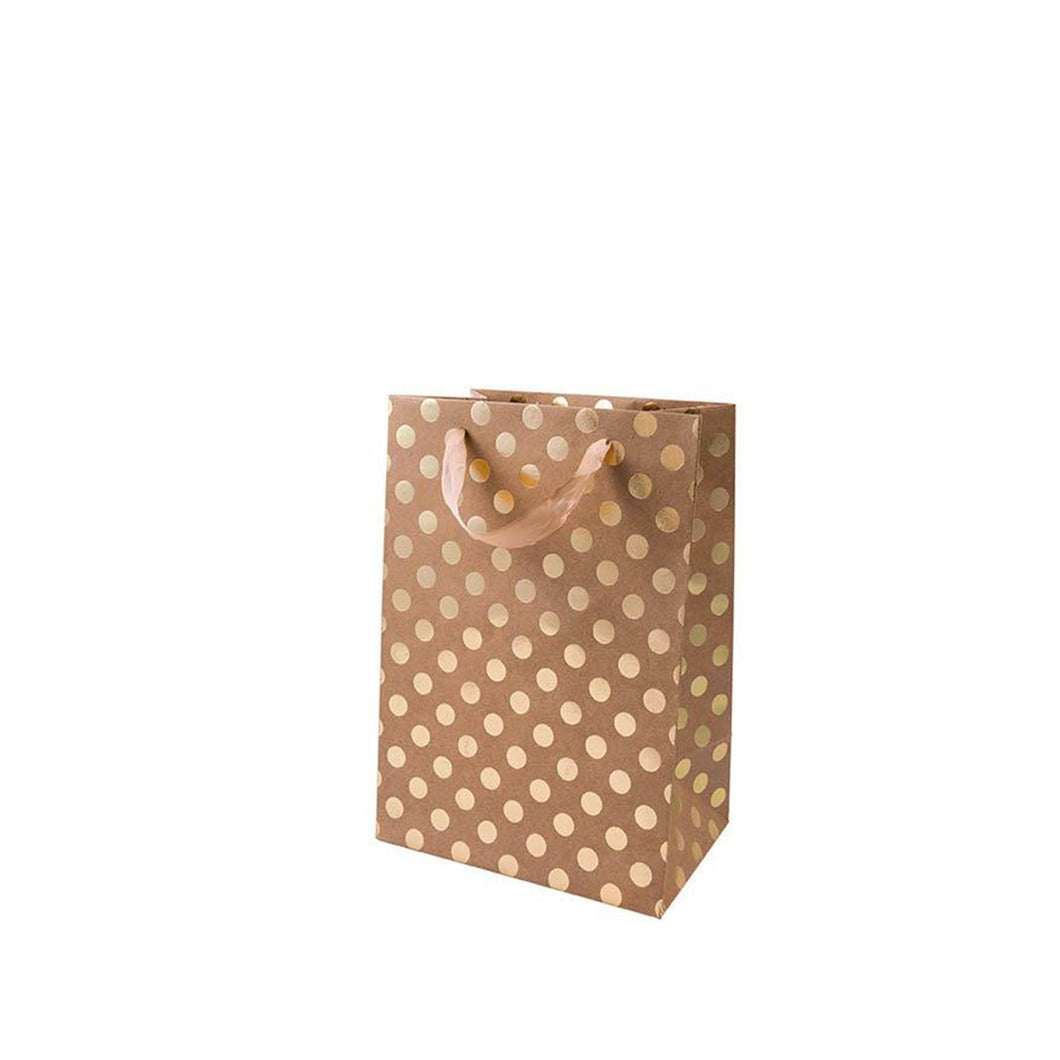medium kraft gold dot gift bag