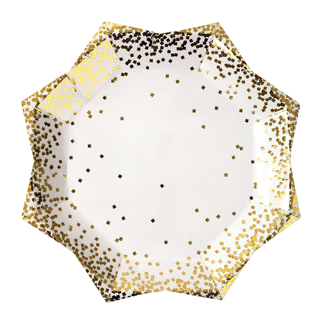meri meri christmas gold confetti sprinkle paper party plates