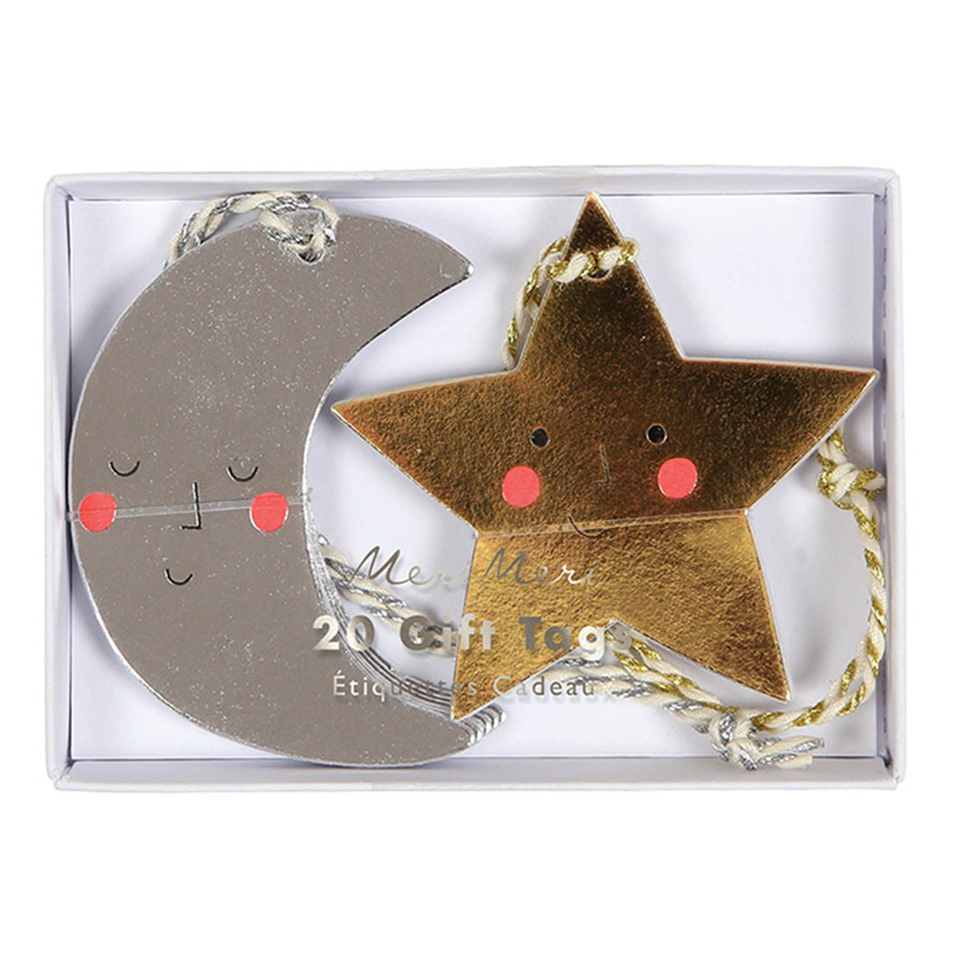 meri meri christmas silver moon gold star gift tag