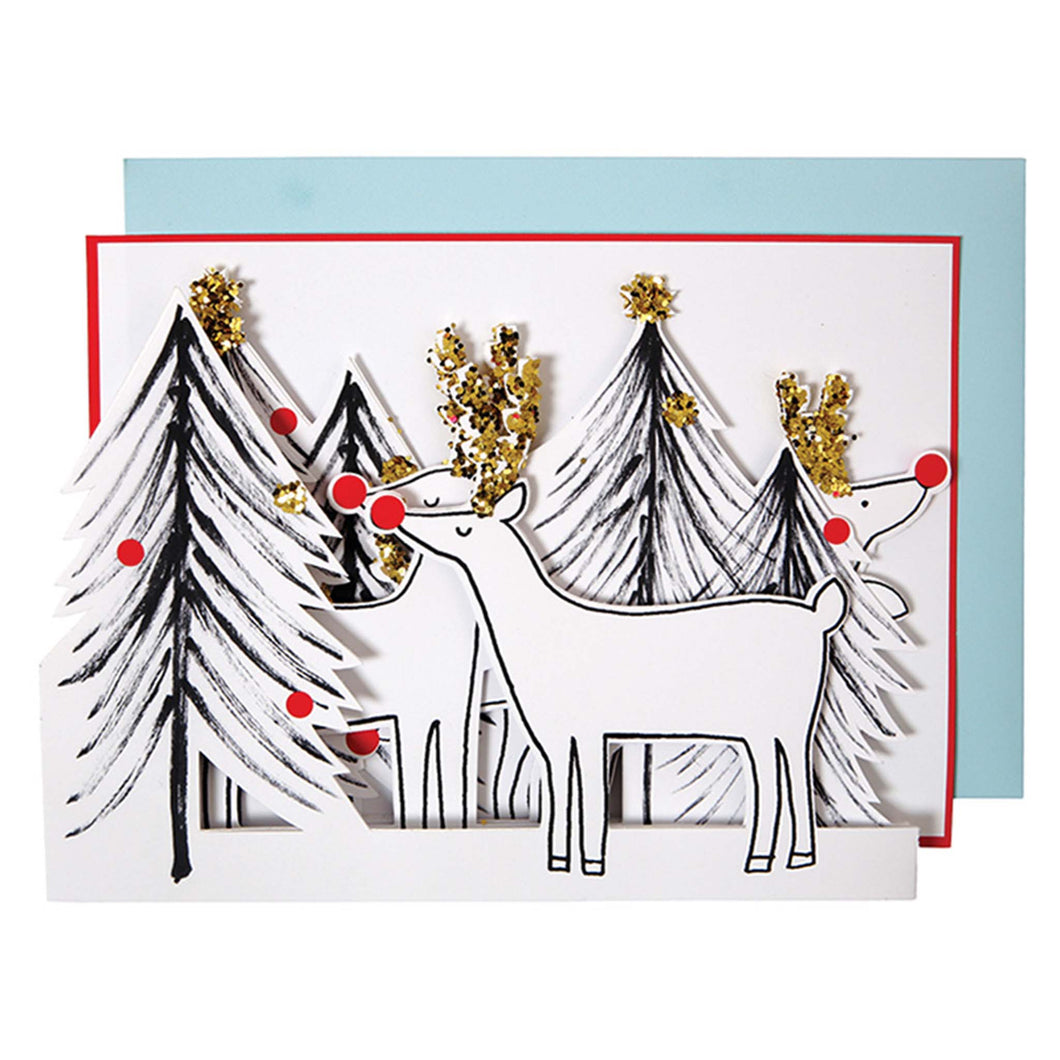 meri meri christmas tree and reindeer card