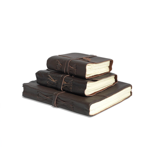 mini leather journal stack