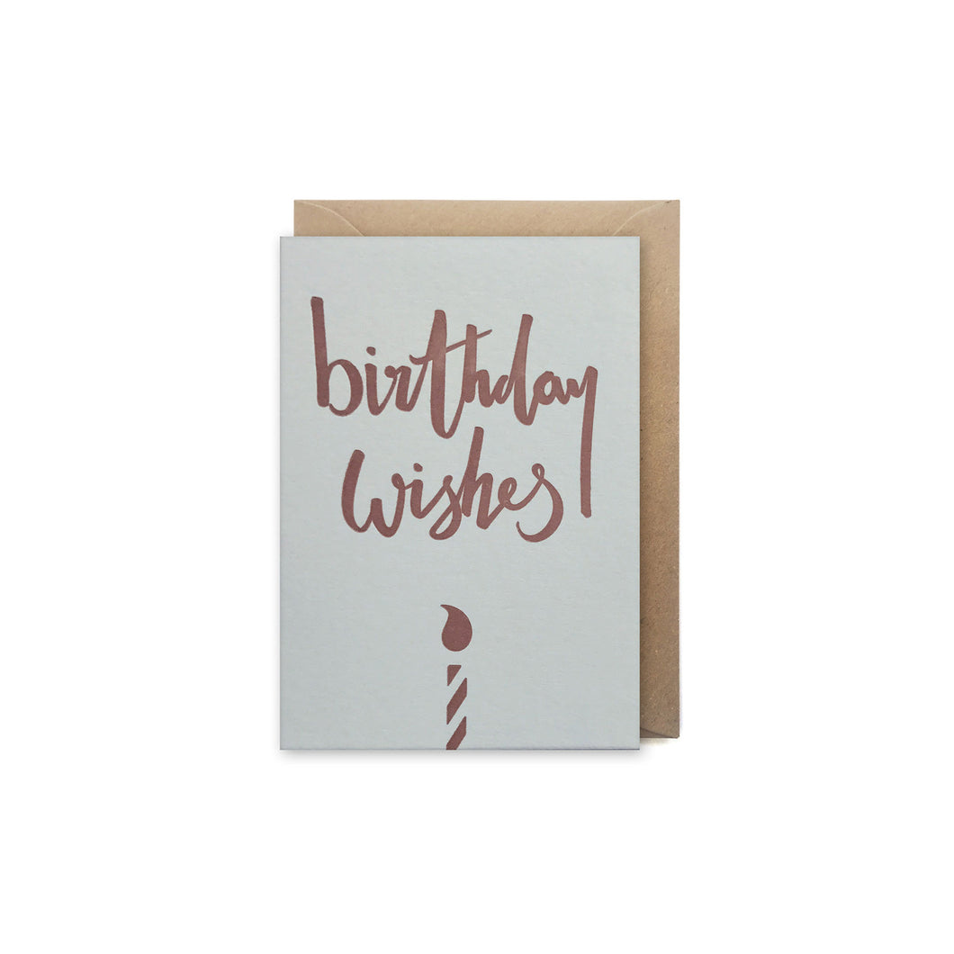mini letterpress copper birthday wishes card