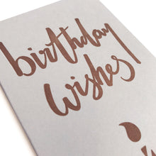 mini letterpress copper birthday wishes card close
