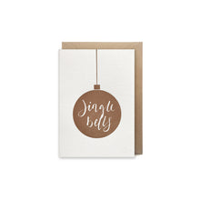 mini letterpress jingle bells bauble card