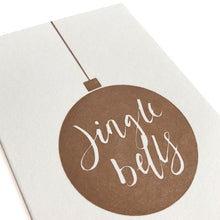 mini letterpress jingle bells bauble card close