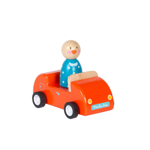 moulin roty jeanne the duck red car wooden toy