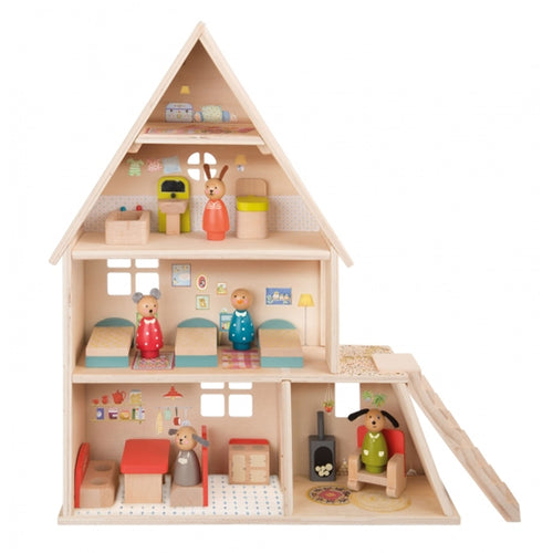moulin roty wooden dolls house with furniture