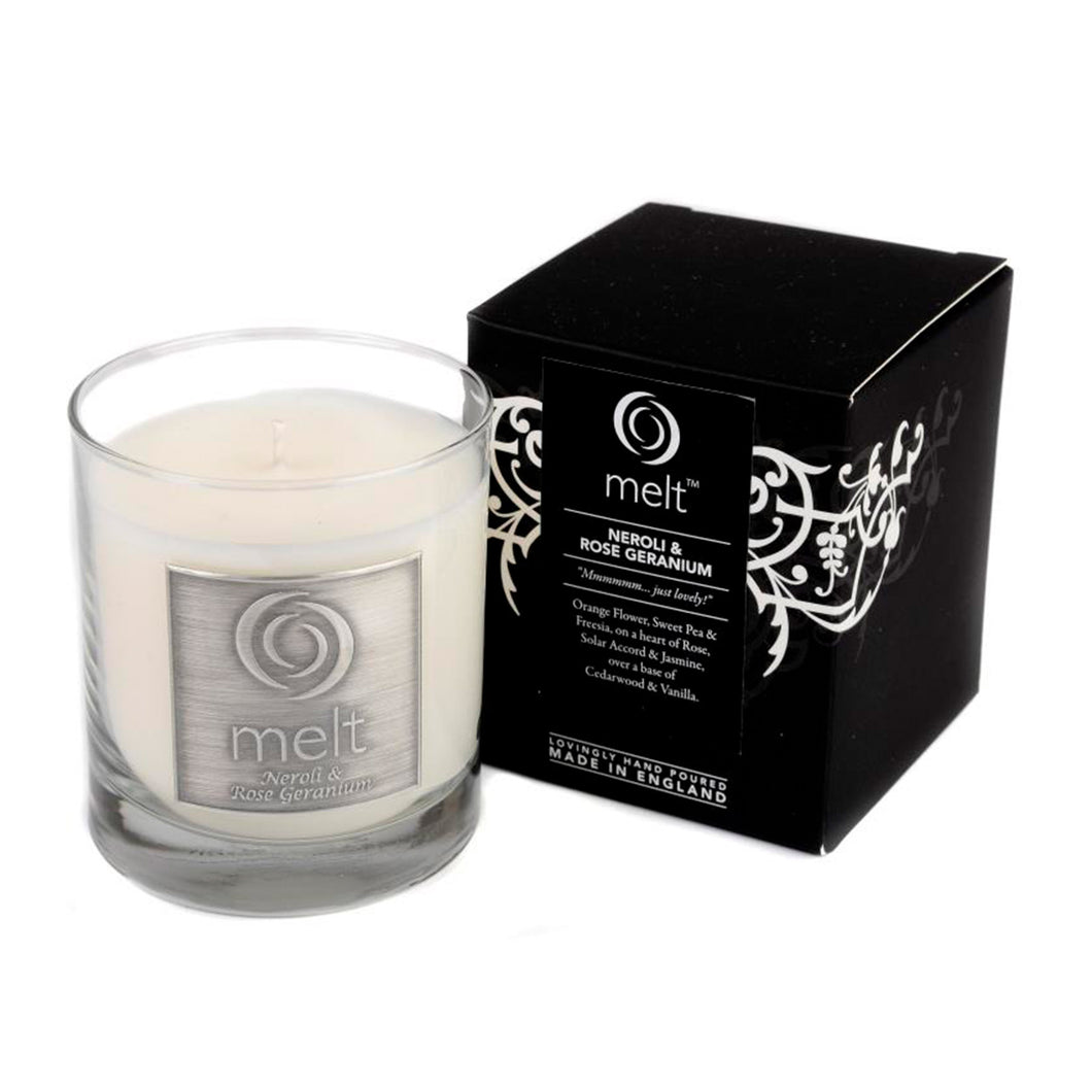 neroli rose geranium scented luxury glass jar candle by melt