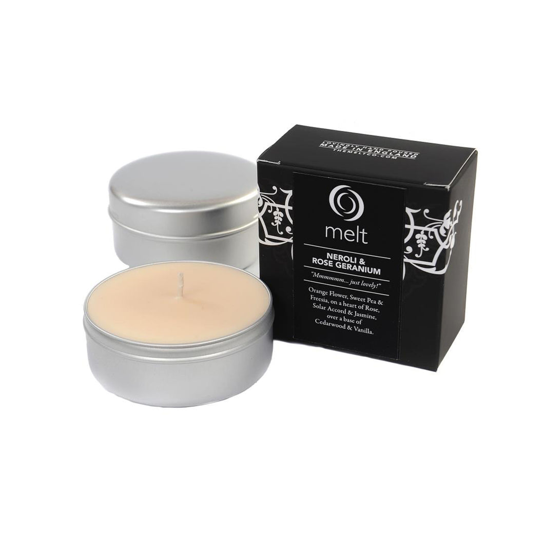 neroli rose geranium scented travel tin candle by melt