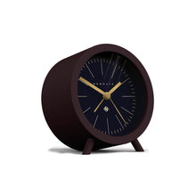 newgate fred alarm clock navy blue and dark chocolate brown