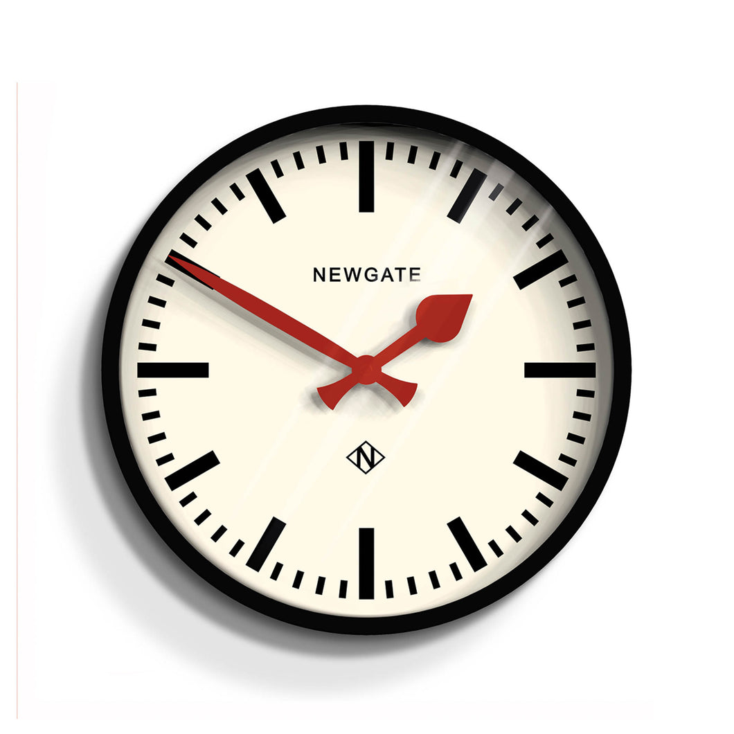 newgate luggage black and white red hands wall clock