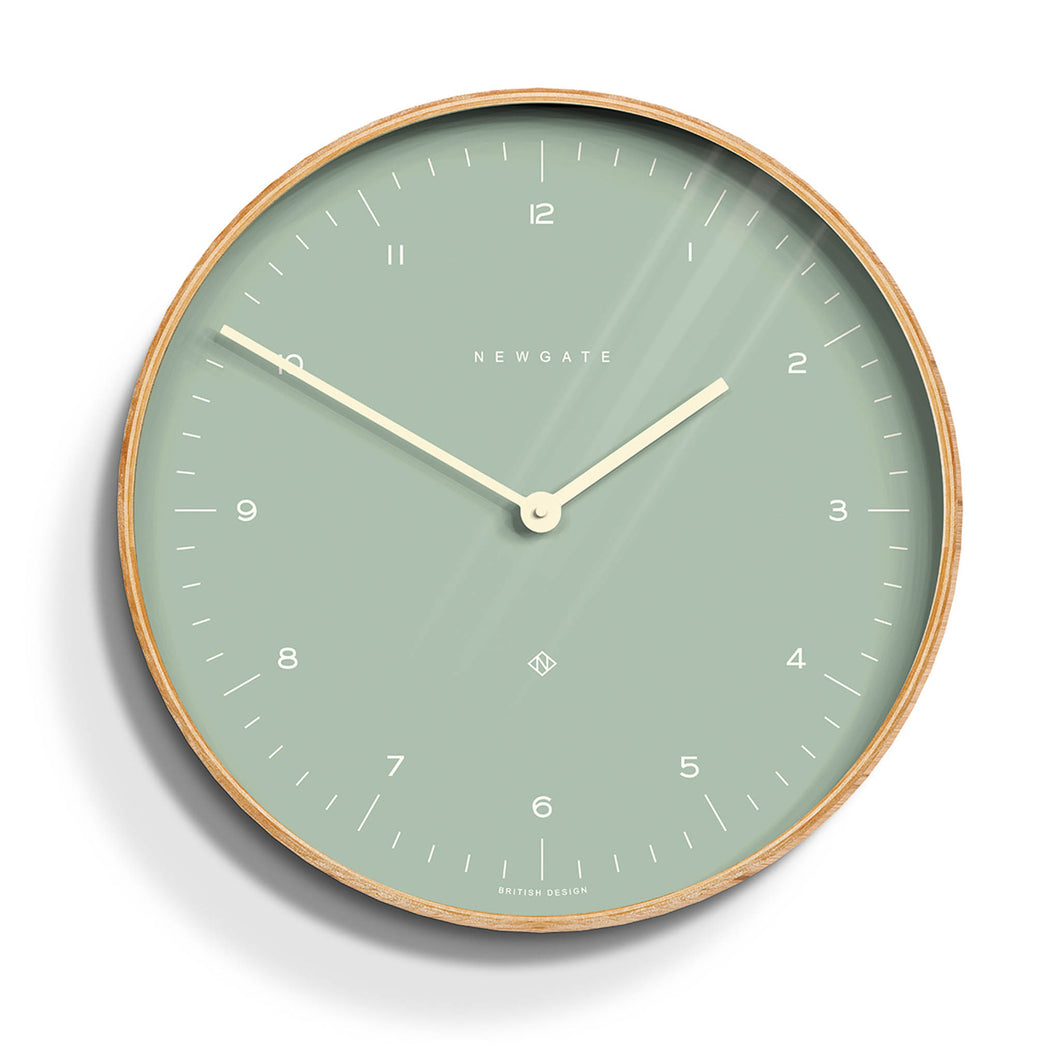 newgate mr clarke pale bubble green and birch plywood wall clock medium