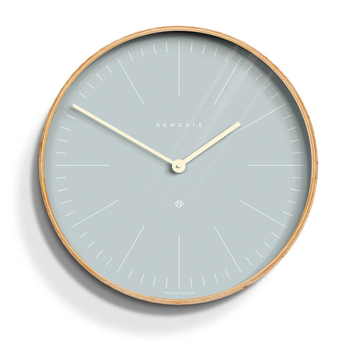 newgate mr clarke pale pill blue and birch plywood wall clock medium