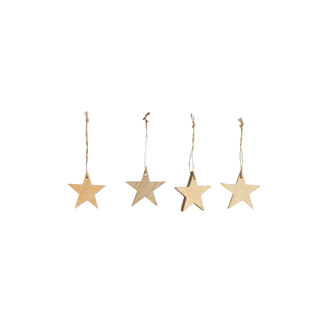 nkuku - Chana Mango Wood Decorations - Natural - Set of 4 - Small Stars