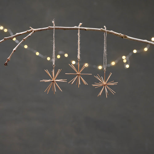 nkuku - Dagari Star Decorations - Brass - Set of 3