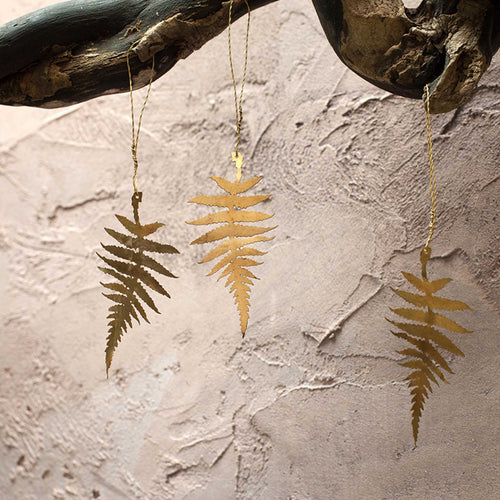 nkuku - Tabwa Leaf Decorations - Brass - Set of 3 - Fern Leaf