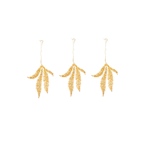 nkuku - Tabwa Leaf Decorations - Brass - Set of 3 - Fern Sprig