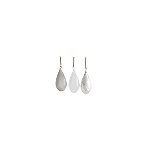 nkuku - Tikari Glass Baubles - Antique Silver, Smoke & Clear - Teardrops - Set of 3 - Small