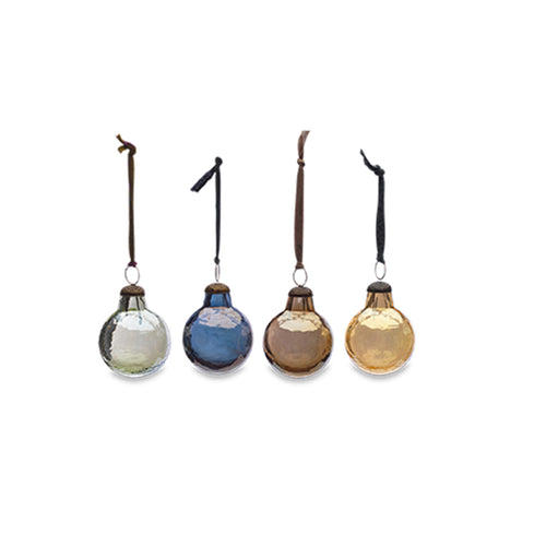 nkuku - Alura Round Bauble - Aged Silver, Gold, Copper & Emerald - Set of 4 - Small