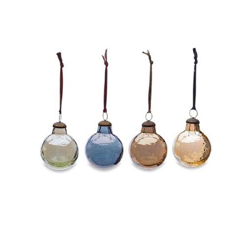 nkuku - Alura Round Bauble - Aged Silver, Gold, Copper & Emerald - Set of 4 - Large