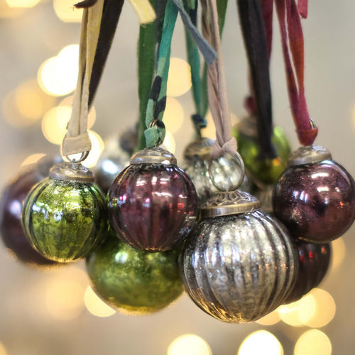 nkuku - Zia Baubles - Green, Wine and Silver - Set Of 6 - Large