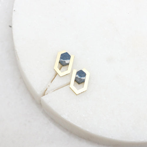 olea brass jesmonite earrings