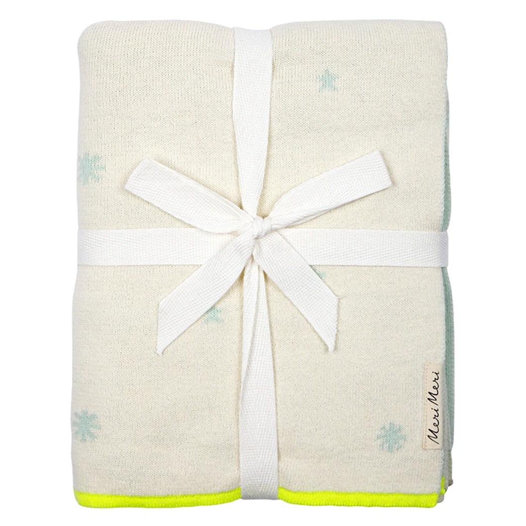 organic cotton blue constellation cot blanket folded