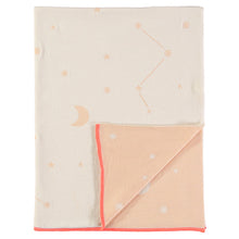 organic cotton pink constellation cot blanket