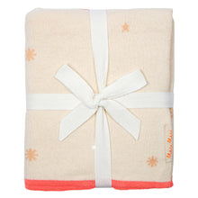 organic cotton pink constellation cot blanket folded