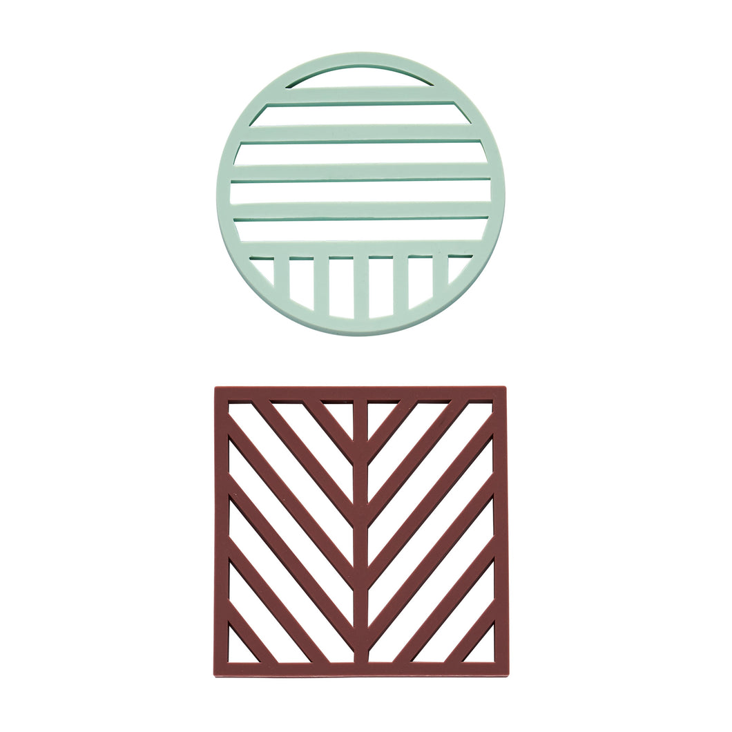 OYOY - Gotoku Trivet - Pair - Aubergine and Pale Mint