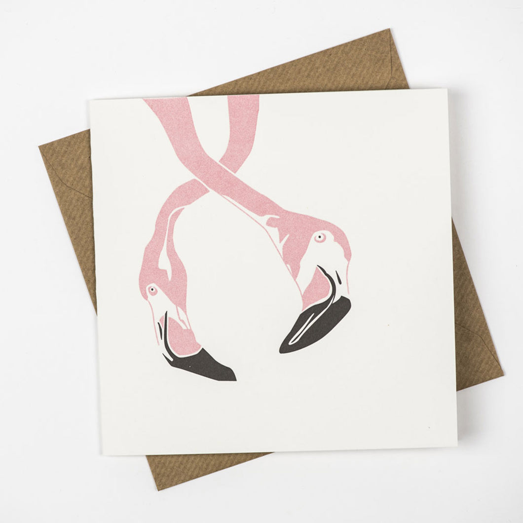 penguin ink letterpress card flamingo