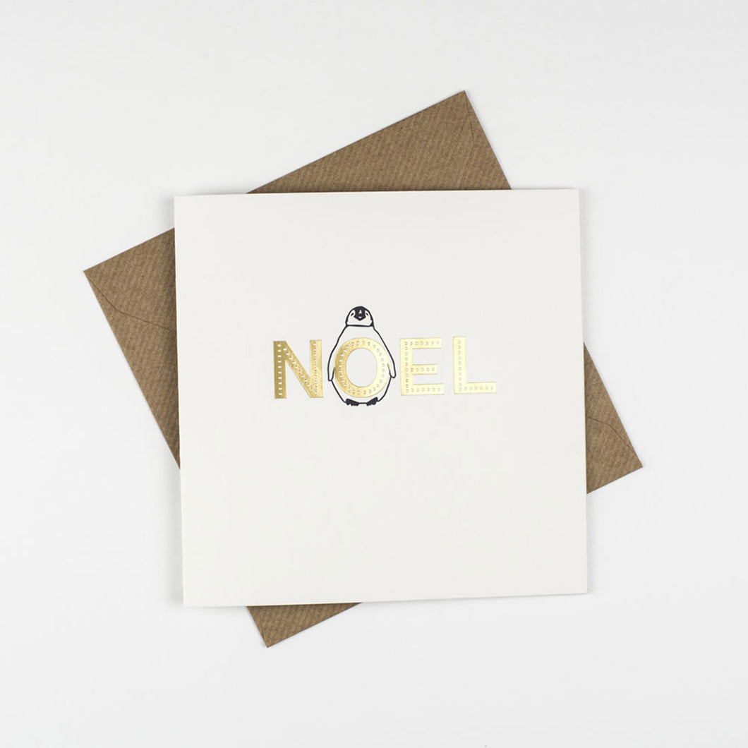 penguin ink letterpress card noel christmas
