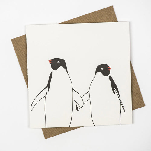 penguin ink letterpress card penguin holding hands