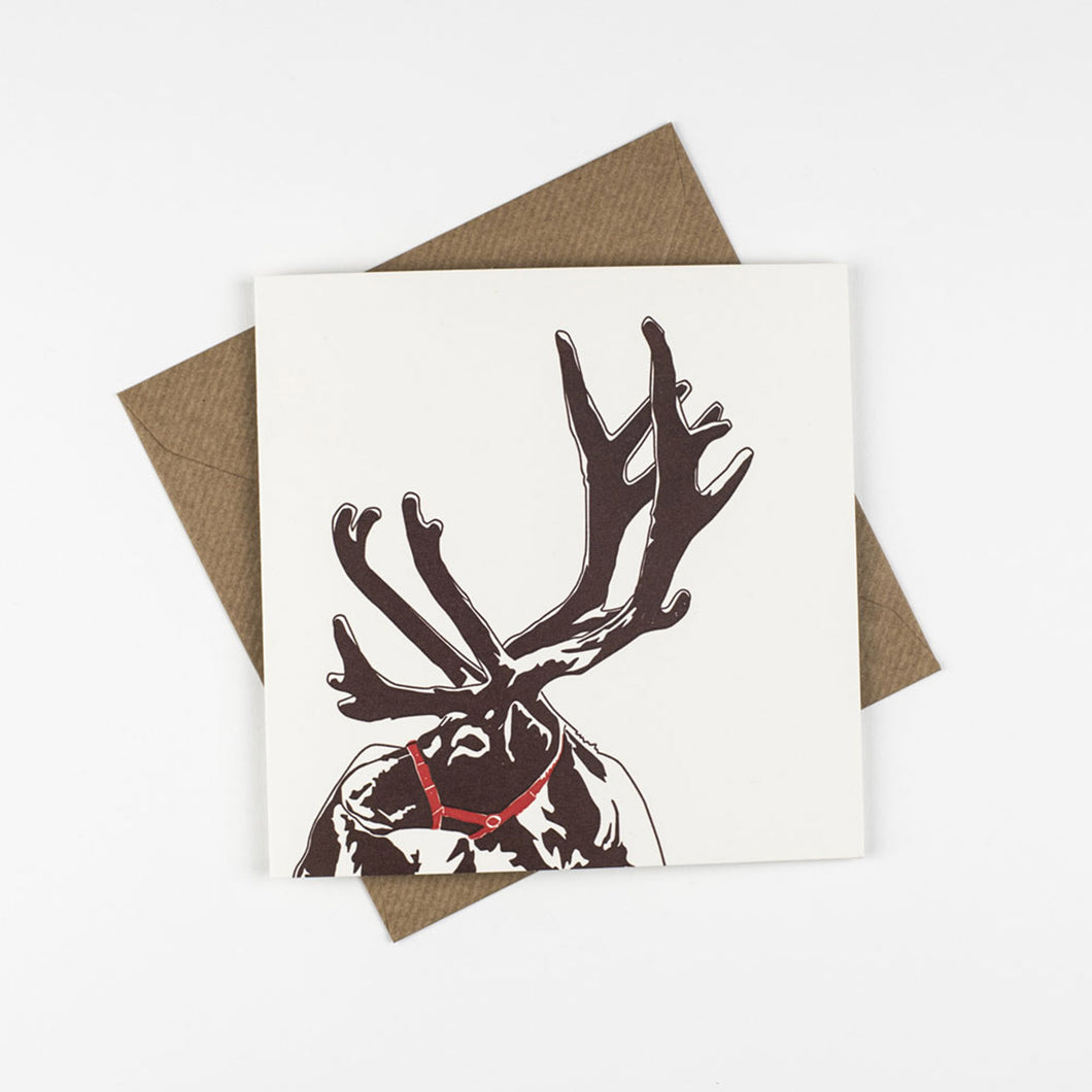 penguin ink letterpress card reindeer