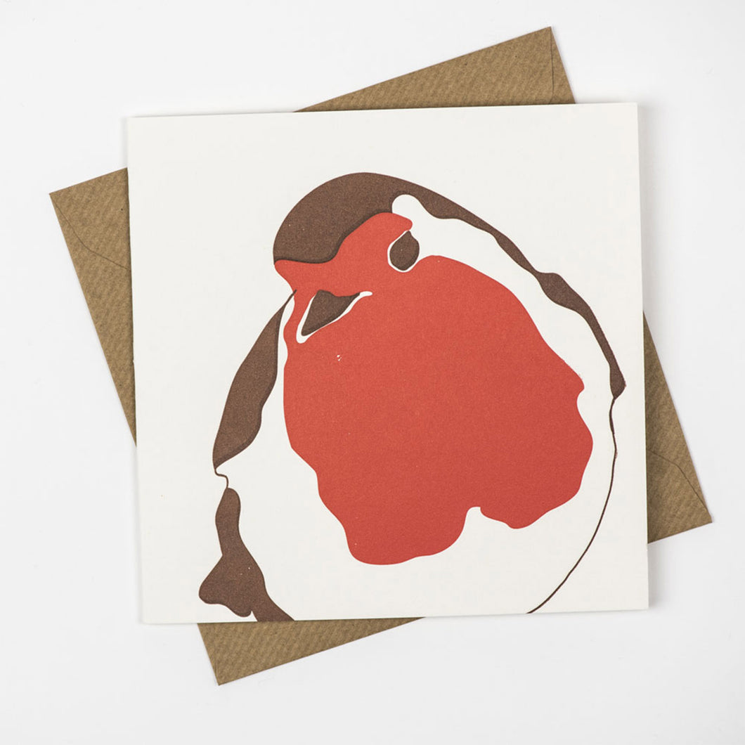 penguin ink letterpress card robin