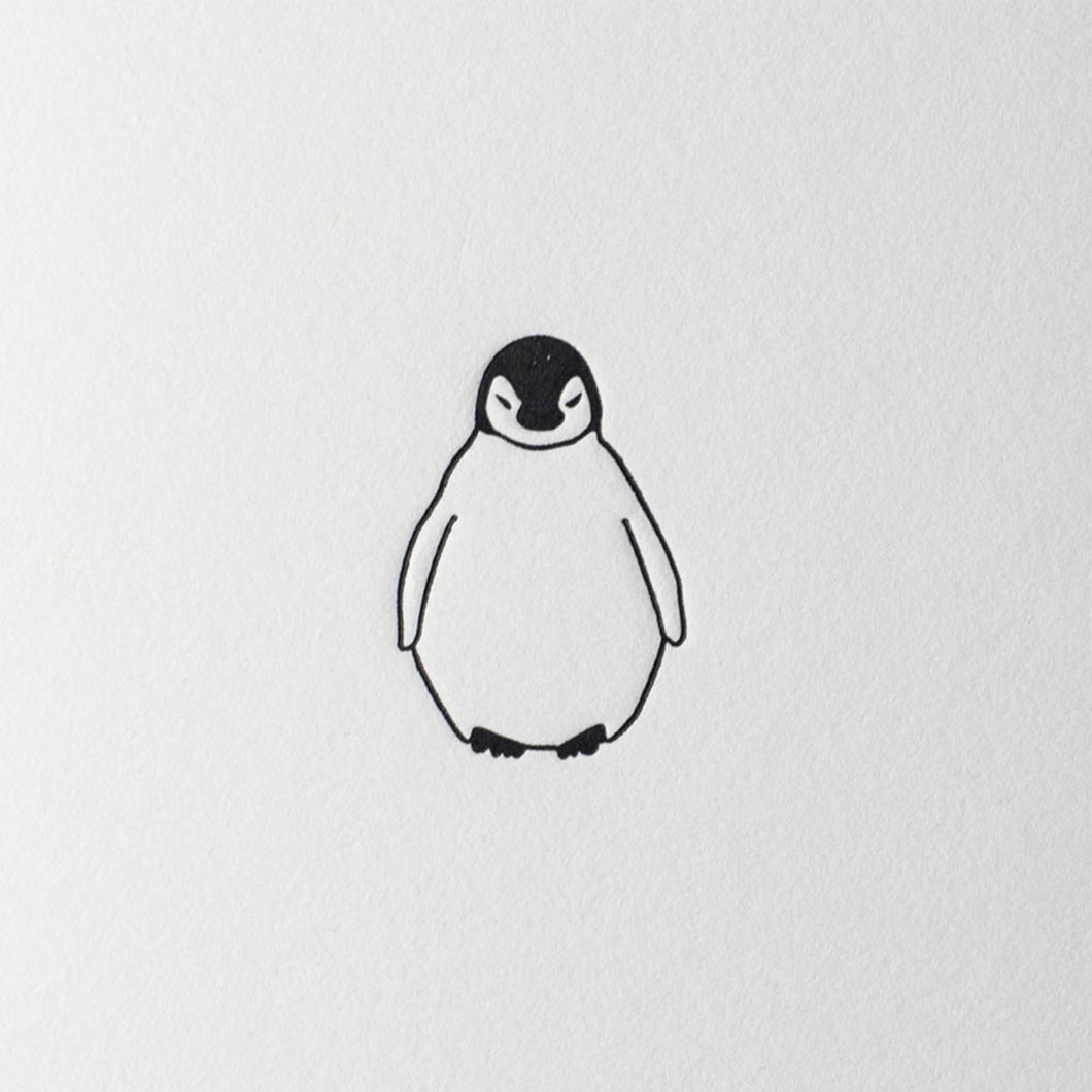 penguin ink letterpress mini card baby penguin