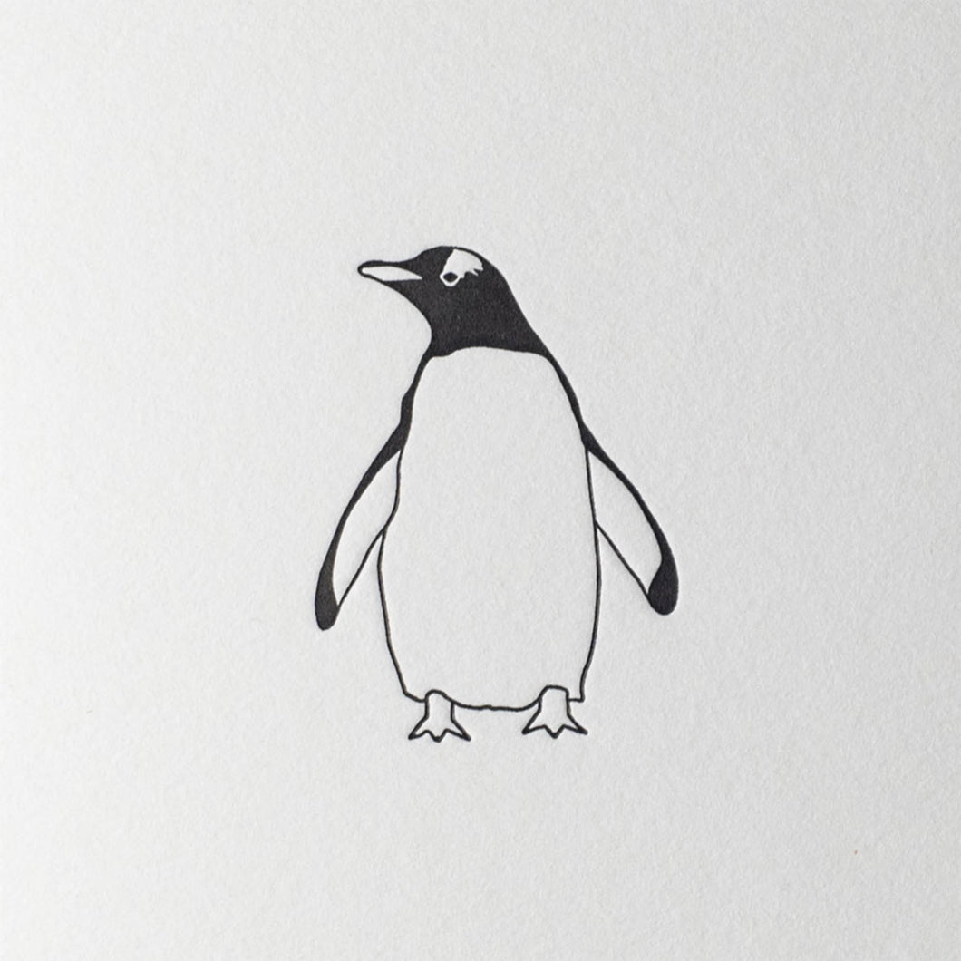 penguin ink letterpress mini card gentoo