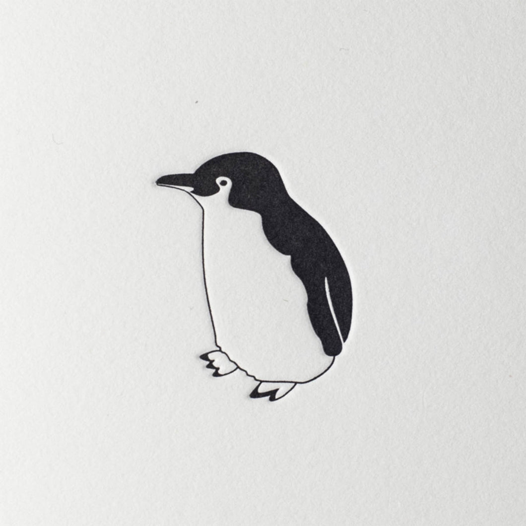 penguin ink letterpress mini card little blue