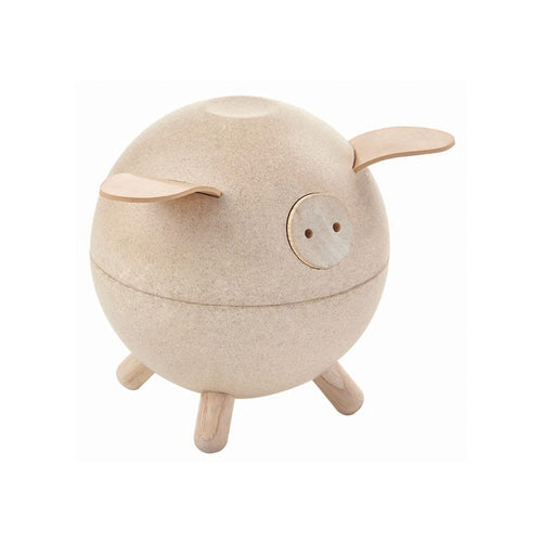 piggy bank wooden pig natural