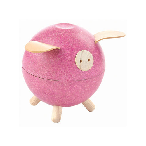piggy bank wooden pig pink