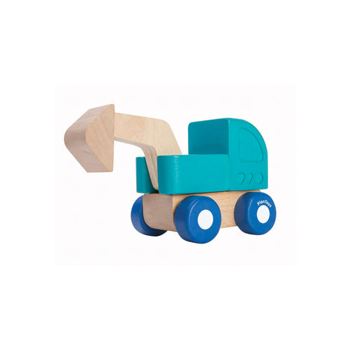 plan toys mini excavator wooden toy