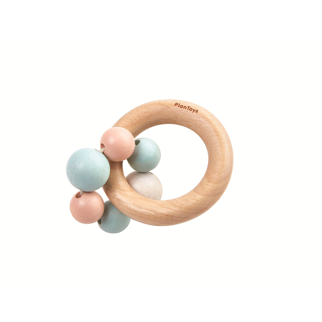 plan toys pastel bead ring rattle wooden toy