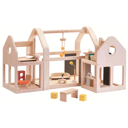plan toys slide n go dolls house wooden toy