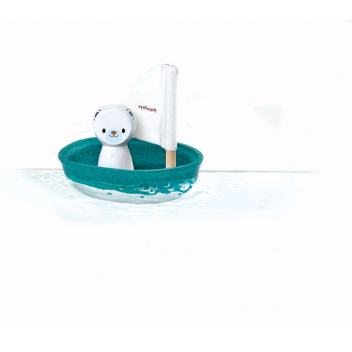 polar bear sail boat bath toy wooden